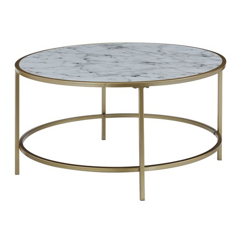 Gold Coast Faux Marble Round Coffee Table Faux Marble White .