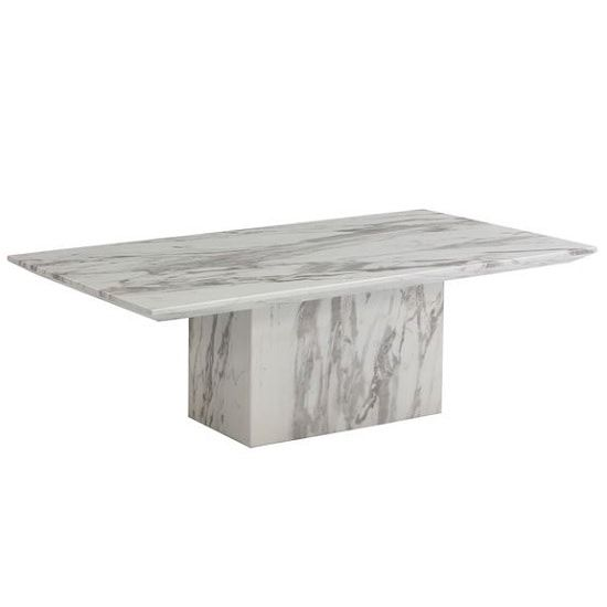Portia Marble Coffee Table Rectangular In White Carerra | Stone .