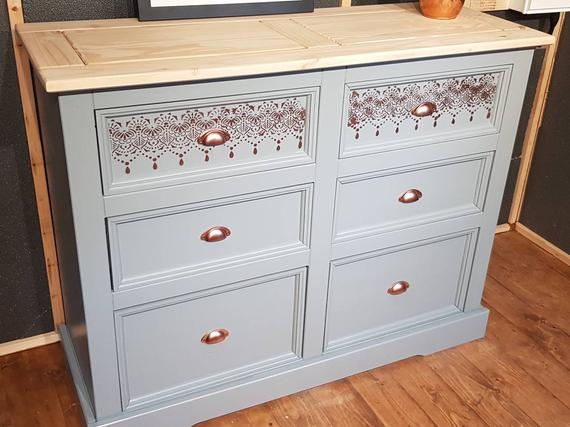 Large solid Mexican pine chest of drawers/sideboard upcycled   Et