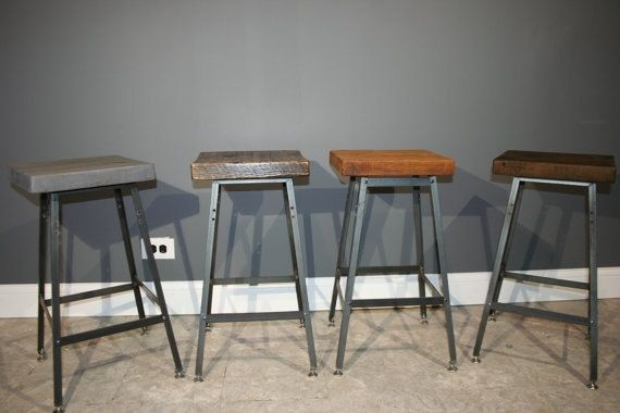 Hand Made Bar Stools - Urban Reclaimed Wood Industrial Modern Bar .