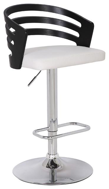 Modern Wood Back Adjustable Swivel Bar Stool with Cushion .