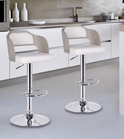 8 White Modern Bar Stools With Low Back - Cute Furnitu