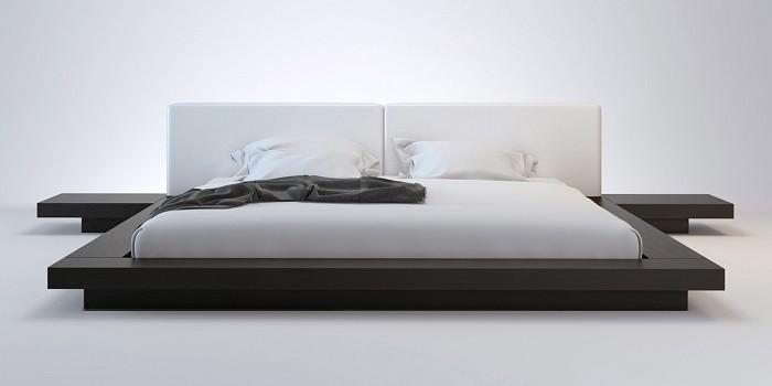 Wanda Wenge & White Modern Platform Bed | Contemporary Be