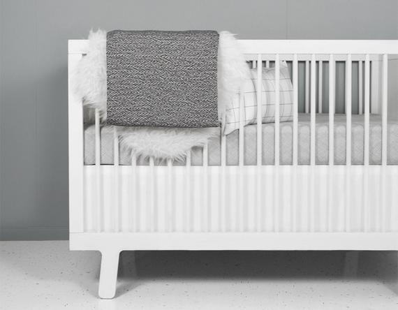 Modern Gray and white Crib Bedding Set neutral crib bedding | Et