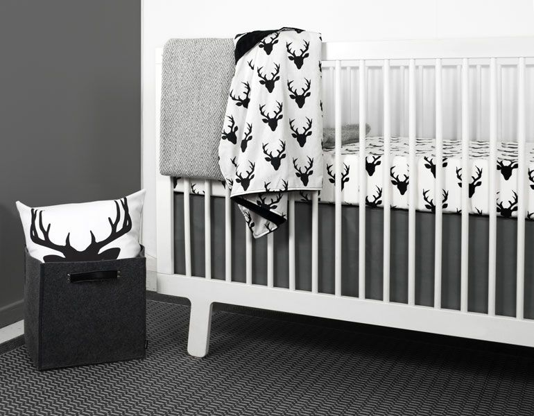 DEER CRIB BEDDING SET FROM OLLI+LIME | Crib bedding boy, White .