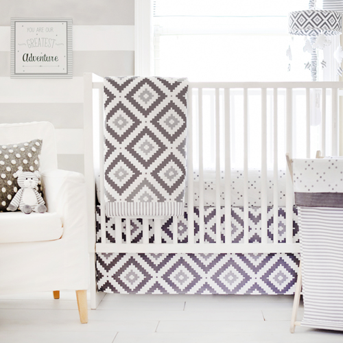 Gray and White Modern Crib Bedding | Imagine Crib Rail Cover .