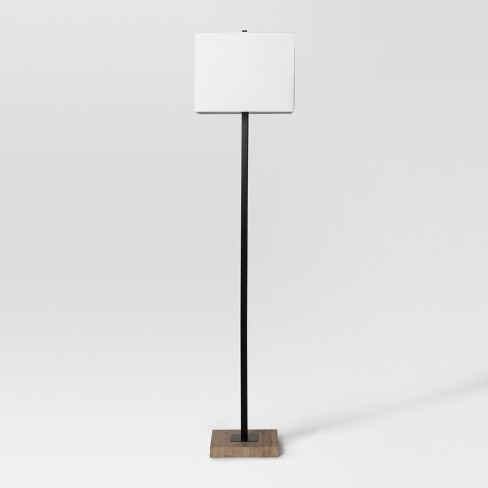Modern Wood Square Floor Lamp Black - Project 62™ : Targ