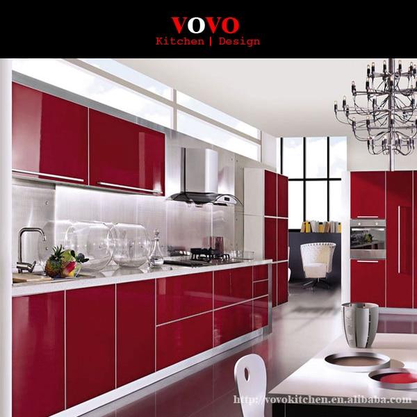 Red Lacquer High Gloss Modern Kitchen Cabinet Designs|modern .