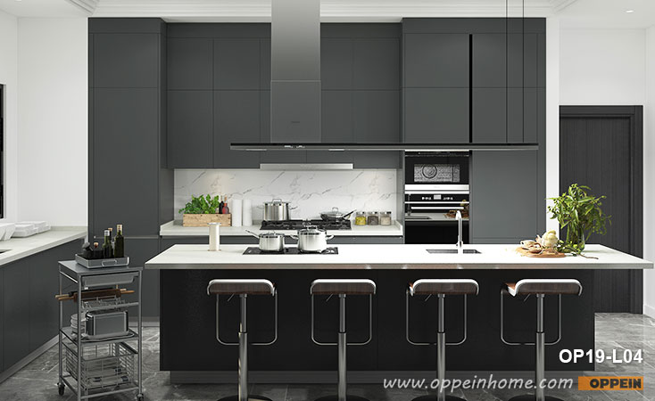 Modern Black Lacquer Kitchen Cabinet OP19-L04- OPPEIN | The .