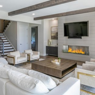 75 Beautiful Modern Living Space With A Wood Fireplace Surround .