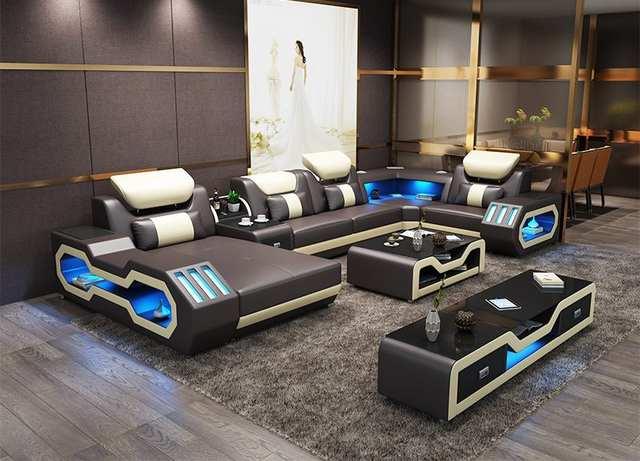 Modern living room furniture leather sofa set with LED lights .