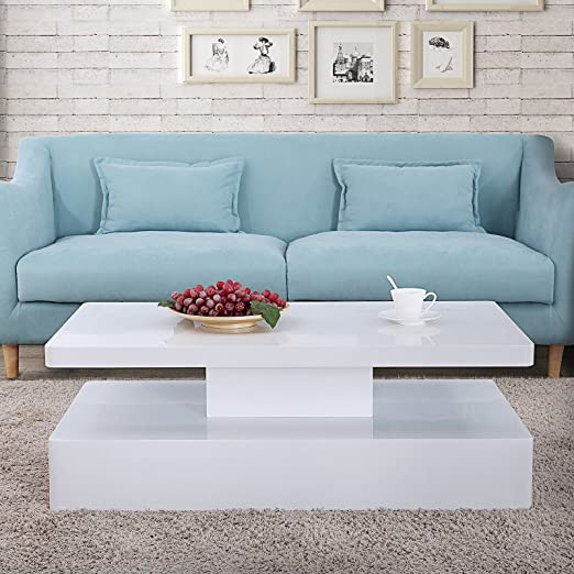 Amazon.com: Mecor Modern Glossy White Coffee Table W/LED Lighting .
