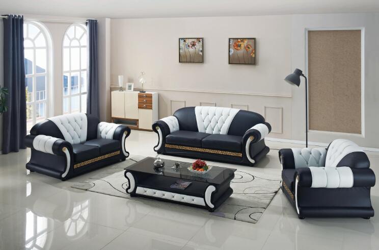 Modern living room sofa set with genuine leather 3 pcs|room .