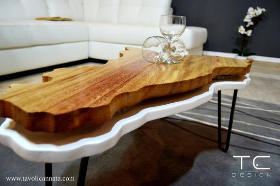 Modern coffee table / wooden unique living room small low | Et