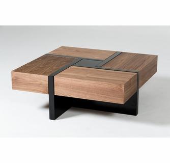 Modrest Makai Modern Walnut Wood Square Coffee Table by VIG Furnitu
