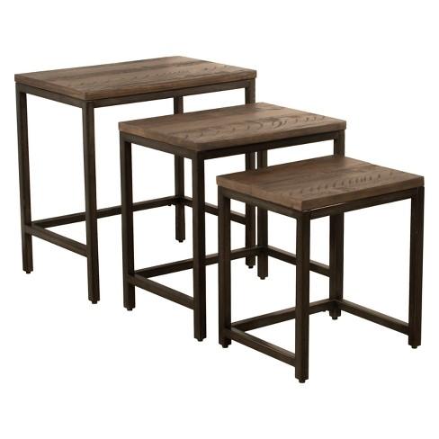 Castille Nesting Tables Set Of Three Metal Textured Black .