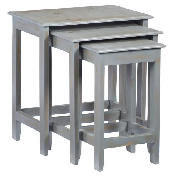 Progressive Furniture Logan Rustic Gray Nesting Tables (3 pieces .