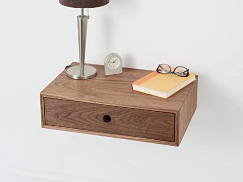 Amazon.com: Floating Nightstand with Drawer in Solid Walnut: Handma