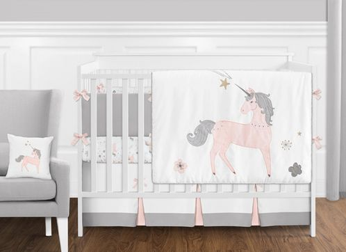 9 pc. Pink, Grey and Gold Unicorn Baby Girl Crib Bedding Set with .