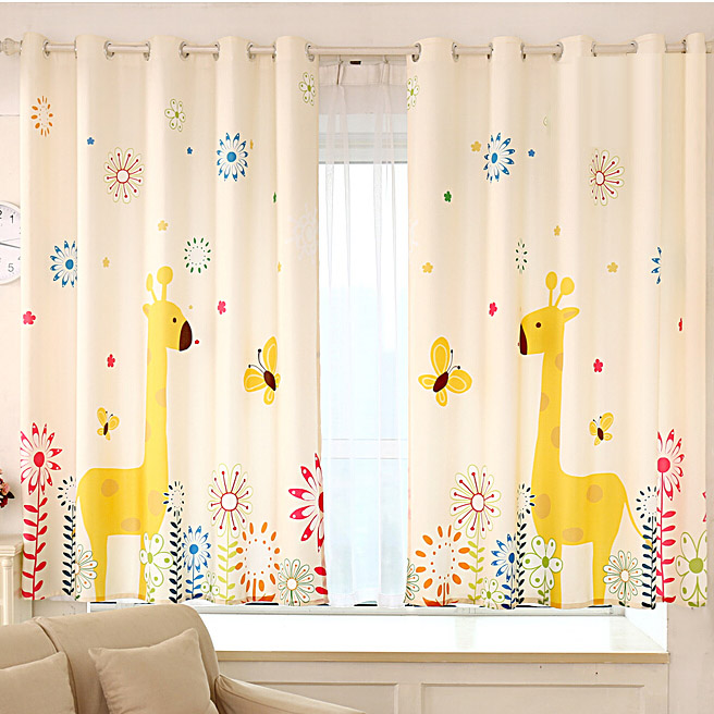 Fancy Giraffe Yellow Poly/Cotton Nursery Curtai