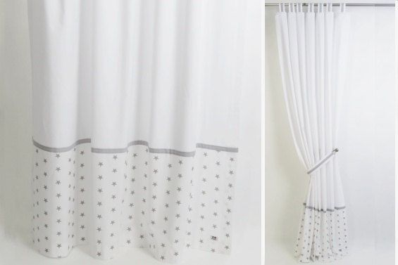 Stars nursery curtains-Modern nursery drapes-Grey nursery curtains .