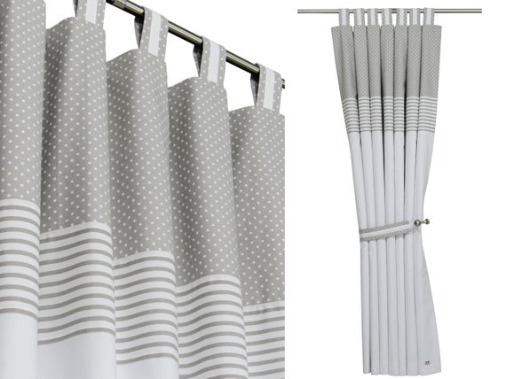 Nursery Blackout Curtains-Gray White Nursery Drapes-Window | Et