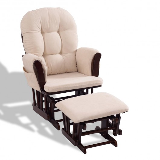 Baby Nursery Rocking Chair with Adjustable Backrest + Ottoman .