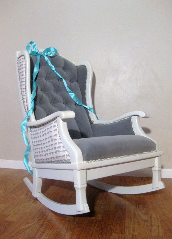 Antique Vintage Nursery Rocker Rocking Chair White Grey Velvet .