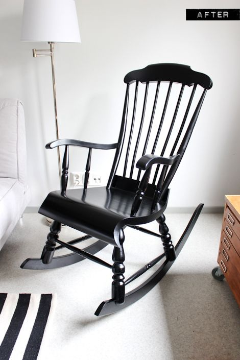 A nursery wooden rocking chair makeover with paint- so gna do this .