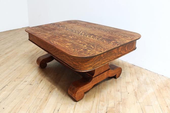 Antique Quarter Sawn Oak Coffee Table American Empire Tiger Oak .