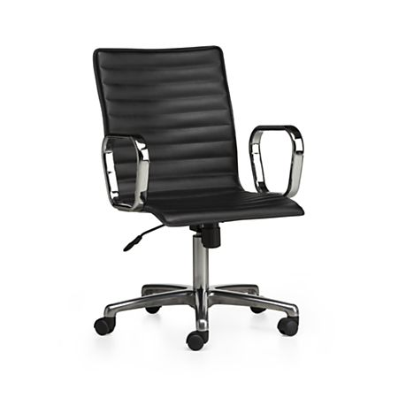 Ripple Black Leather Office Chair with Chrome Base + Reviews .
