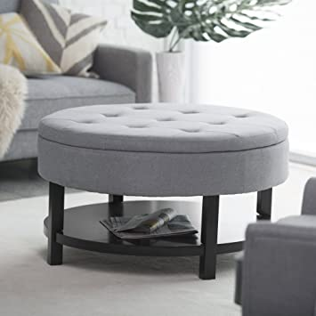 Amazon.com: Belham Living Coffee Table Storage Ottoman with Shelf .