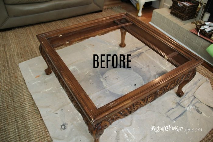 Thrift Store Coffee Table -turned- DIY Tufted Ottoman - Artsy .