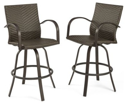 Naples Leather Finish All-Weather Wicker Swivel Barstools, Set of .