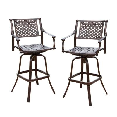 Noble House Sebastian Swivel Aluminum Outdoor Bar Stool (2-Pack .