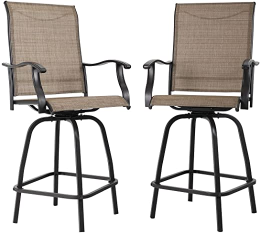 Amazon.com: PHI VILLA Swivel Bar Stools All-Weather Patio .