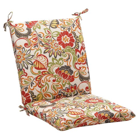 Outdoor Chair Cushion - Green/Off-White/Red Floral : Targ