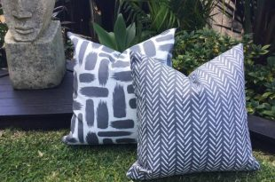 Grey Outdoor Cushions Grey and White Outdoor Pillow Outdoor | Et