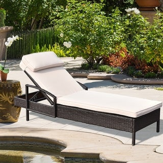 Shop Costway Chaise Lounge Chair Brown Outdoor Wicker Rattan Couch .