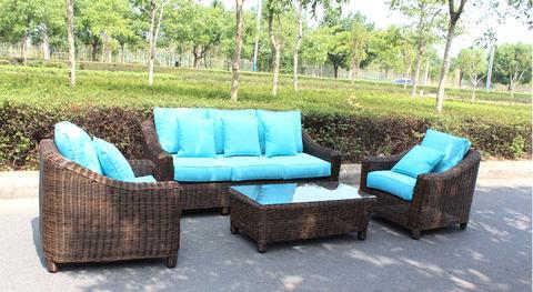 Catalina Full Round Weave 4 Piece Wicker Outdoor Patio Furniture .
