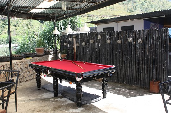 Outdoor patio pool table - Picture of Chh'a Bistro & Bar, Thimphu .