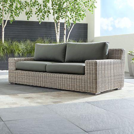 Cayman Outdoor Sofa with Graphite Sunbrella Cushions + Reviews .