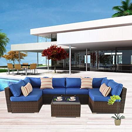 Amazon.com: Outime Patio Sofa Brown Rattan Garden Sectional Sofa .