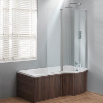 Genesis California 'P' Shaped Shower Bath, Double Screen & Wooden .