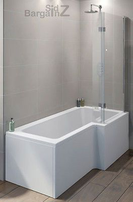 Details about L Shape Square SHOWER BATH, Hinged Screen, Front .