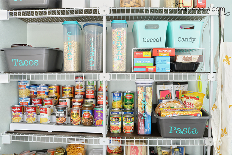 An Organized Pantry with Wire Shelving Hack - Karlie Bel