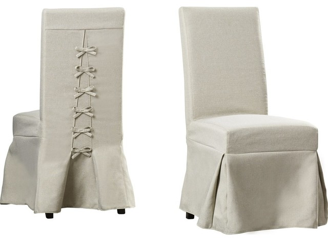 Muse Upholstered Parsons Chairs With Cover, Set of 2 .
