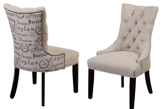 Fortnum Tufted Nailhead Parsons Chairs, Set of 2 - Transitional .