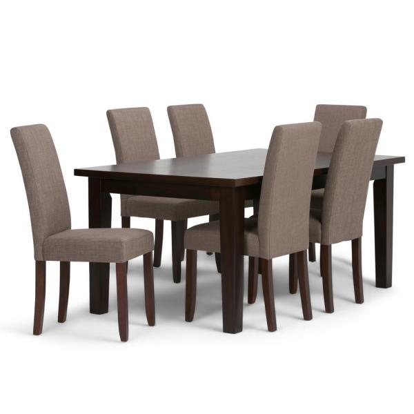 Simpli Home Acadian 7-Piece Dining Set with 6 Upholstered Parson .