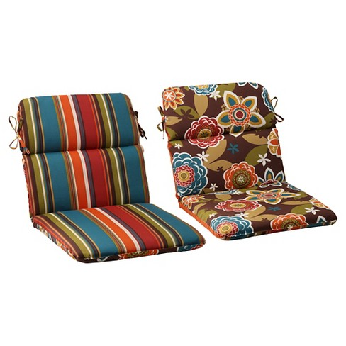 Outdoor Reversible Rounded Chair Cushion - Brown/Turquoise Floral .
